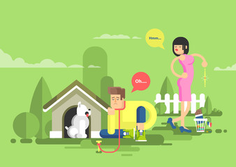 illustration of sad man sits beside a dog at the doghouse