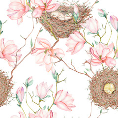 Seamless pattern of the watercolor bird nests on the tree branches with spring magnolia flowers, hand drawn on a white background