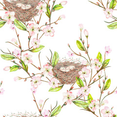 Seamless pattern of the watercolor bird nests on the tree branches with spring flowers, hand drawn on a white background
