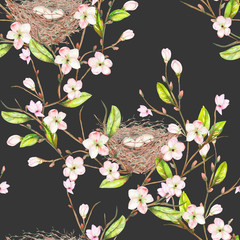 Seamless pattern of the watercolor bird nests on the tree branches with spring flowers, hand drawn on a dark background