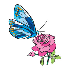 Blue butterfly with yellow dot wings, pink rose flower and green leaf isolated, freehand black