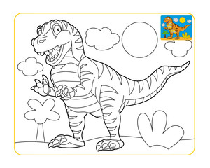 Coloring page - dinosaur - coloring page - illustration for children