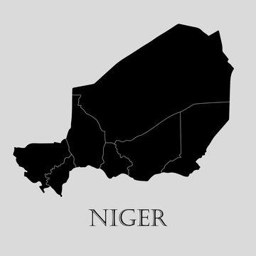Black Niger map - vector illustration