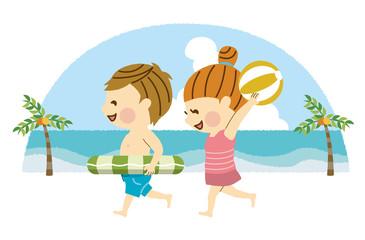 海で楽しむ男女 その3