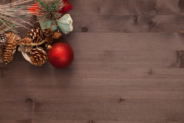 Christmas decorations on wooden boards. background
