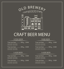 craft beer menu with the image of the brewery building in retro style and price