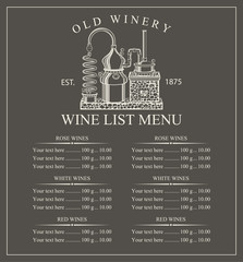 Wine menu price with a picture of the winery on a black background