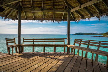 Beautiful pavilion on tropical island beach