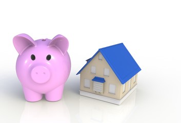 Saving for a house. Piggy bank with house isolated on white background