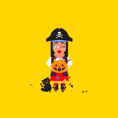 illustration a pirate girl character for halloween in  flat style