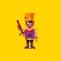 illustration a steampunk character for halloween in  flat style