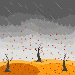 Autumn landscape with trees and fields. Leaf fall image. Wind. Clouds. Rain. Nature illustration