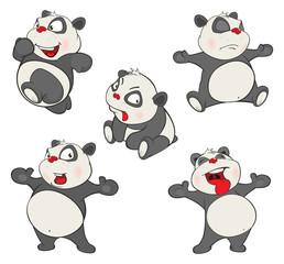 Illustration of a set of Funny Panda Bear. Cartoon Character