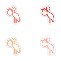 Set paper stickers on white background Baby and Stork