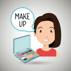 woman make up cosmetic vector illustration design