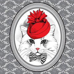 Picture in frame with portrait of a cat in red Elegant royal hat with bow. Vector illustration.
