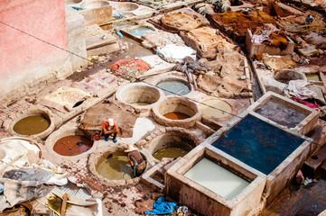 Gerberei Höfe in der Medina von Marrakesch