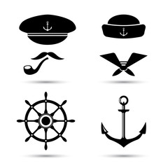 Vector nautical icons, captain and sailor, sea set