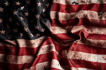 Grunge american flag background with dirt and blood