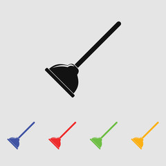 Plunger vector icon for web and mobile. Flat style.