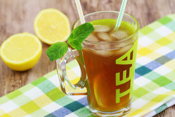 Ice tea with fresh lemon and mint