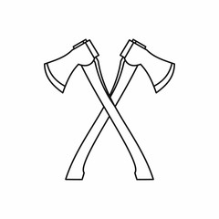 Lumberjack axes crossed icon in outline style isolated on white background