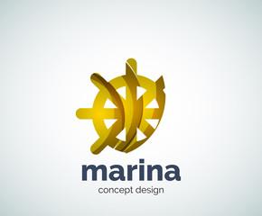Vector marina, steering wheel logo template