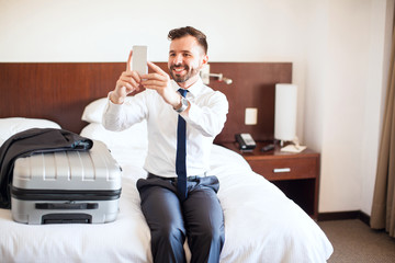 Selfie on his first business trip