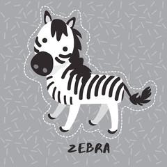 Zebra : Cute Animal Set :  Vector Illustration