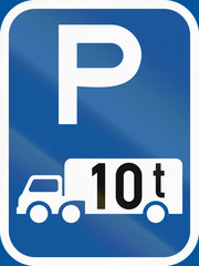 Fototapeta Road sign used in the African country of Botswana - Parking for goods vehicles exceeding 10 tonnes GVM obraz