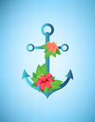 Anchor, hibiscus flowers and palm leaves retro vector illustration
