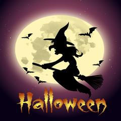 ночь хэллоуина,злая ведьма летящая на фоне луны