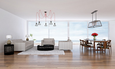 3D render living and dining area with sea view