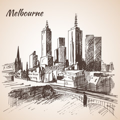 Melbourne city scape sketch - Australia.