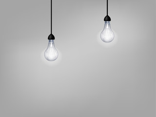 beautiful graphic design of light bulb on gray background with copy space
