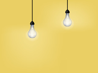 beautiful graphic design of light bulb on yellow background with copy space