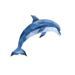 polygonal dolphin jumping out on white background