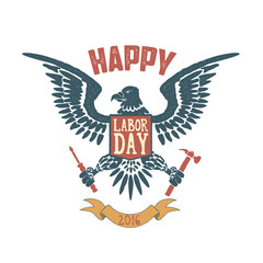Happy labor day poster template. Eagle isolate on white backgrou