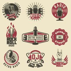 Radio labels. Retro radio, record studio, rock and roll radio em
