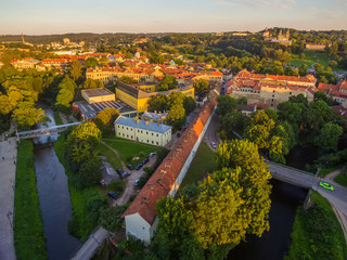AERIAL. Old Town in Vilnius, Lithuania