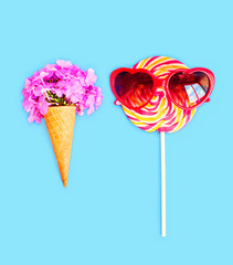 Ice cream cone flowers and colorful lollipop caramel with sungla