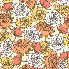 Hand drawn roses seamless pattern