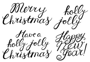Merry, Christmas, Happy New Year, holly jolly celebration quote lettering