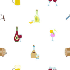 Seamless background with alcohol icons for your design