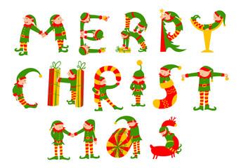 Merry Christmas hand drawing vector lettering. The letters silhouettes as elves with gifts, deer and pine tree