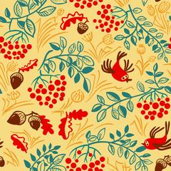 Fall season vector seamless pattern with bird, rowan, leaves and acorns