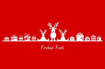 Weihnachten Elche und Geschenke