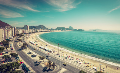 Copacabana Beach and Sugar Loaf Mountain aerial view in Rio de Janeiro