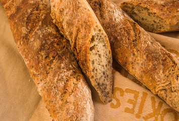Fresh Alpine Baguettes with Pumpkin, Sesame, Chia and Flax Seeds