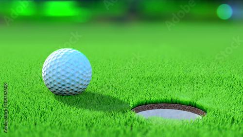 gros plan d 39 une balle de golf sur le green proche du trou. Black Bedroom Furniture Sets. Home Design Ideas